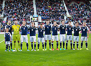 Scotland Under-21s line up before their match against FYR Macedonia,  UEFA Under 21 championship qualifier  at Tynecastle, Edinburgh. Photo: David Young<br /> <br />  - © David Young - www.davidyoungphoto.co.uk - email: davidyoungphoto@gmail.com