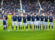 Scotland Under-21s line up before their match against FYR Macedonia,  UEFA Under 21 championship qualifier  at Tynecastle, Edinburgh. Photo: David Young<br /> <br />  - &copy; David Young - www.davidyoungphoto.co.uk - email: davidyoungphoto@gmail.com
