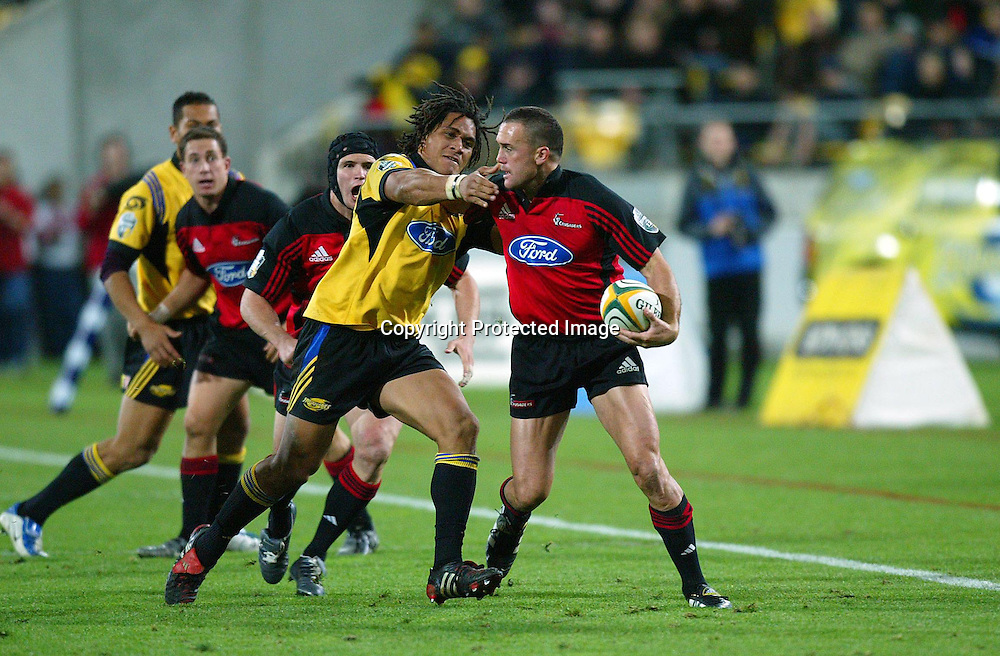 07 May 2004, Rugby Union. Super 12, Westpac Stadium, Wellington, New Zealand. <br /> Hurricanes vs Crusaders.<br /> Caleb Ralph.<br /> The Hurricane's won the match 37 - 20.<br /> Please Credit: Photosport