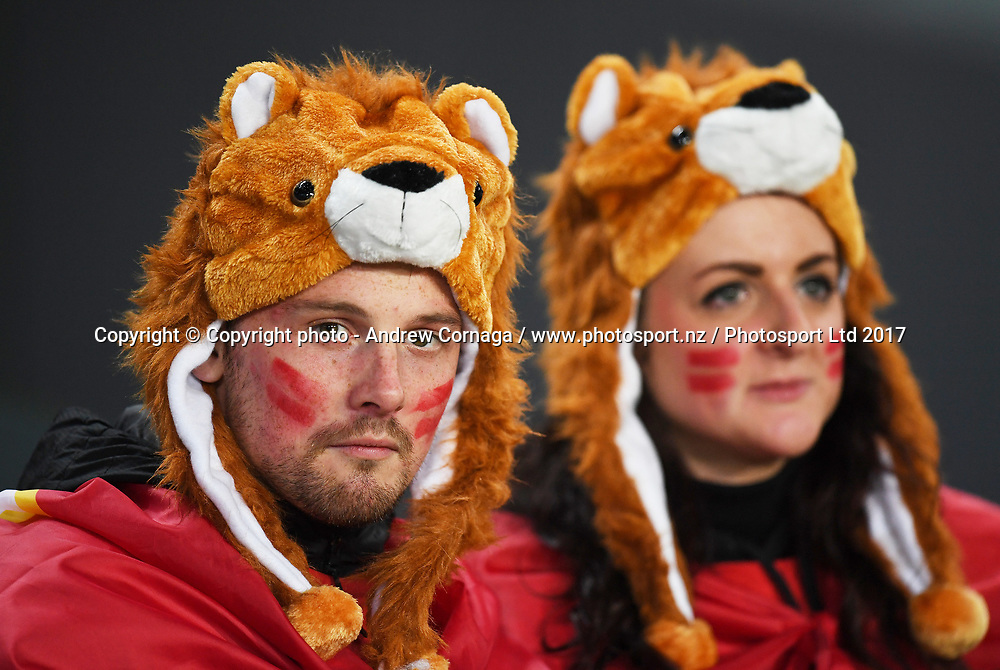 Dejected Lions fans.<br /> New Zealand All Blacks v British and Irish Lions. 1st Rugby union test match. Eden Park, Auckland, New Zealand, Saturday 24 June 2017. &copy; Copyright photo: Andrew Cornaga / www.Photosport.nz
