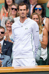 © Licensed to London News Pictures. 08/07/2017. London, UK. SIR ANDY MURRAY makes an appearance in the Royal Box on the center court tennis on the sixth of the Wimbledon Lawn Tennis Championships. Photo credit: Ray Tang/LNP