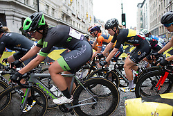 Rachele Barbiere (ITA) of Cylance Pro Cycling leans into a corner in the third lap of the Prudential Ride London Classique - a 66 km road race, starting and finishing in London on July 29, 2017, in London, United Kingdom. (Photo by Balint Hamvas/Velofocus.com)