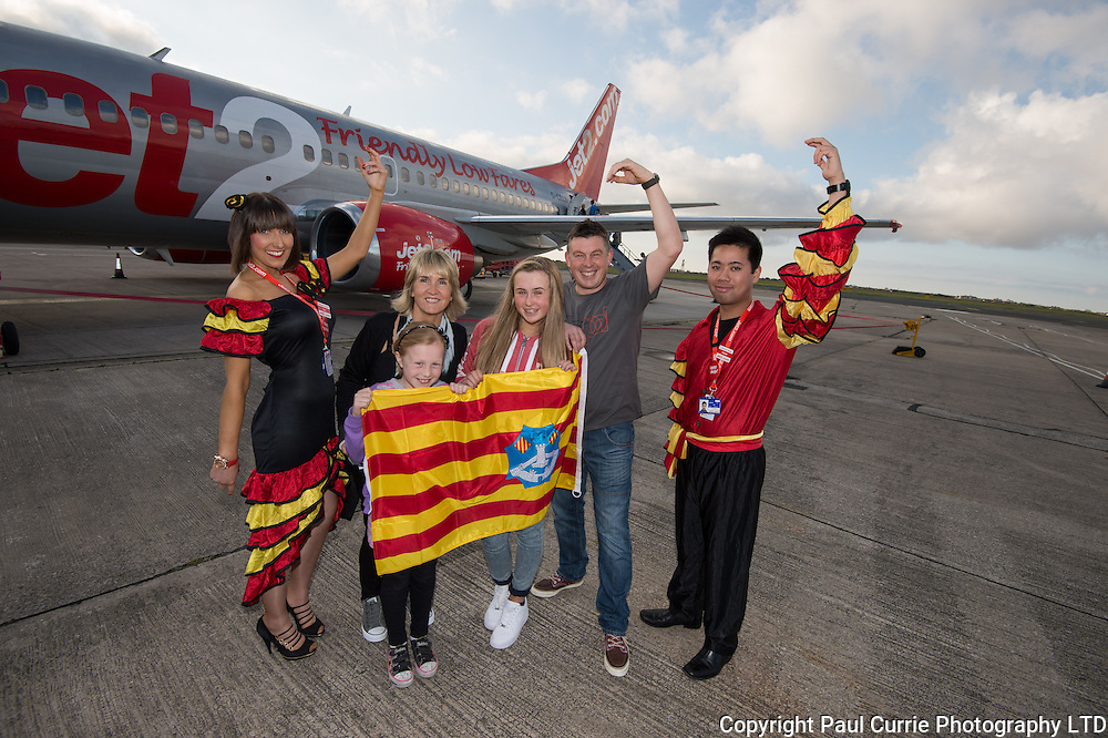 Pictures shows the launch of the new route to Menorca by Jet2.com from Blackpool Airport with Toni Schools female Flamenco and Daniel Lio the male flamenco with Kaz, Lucy aged 8 Sophie aged 12 and Pete Haworth<br /> Pictures by Paul Currie<br /> 07796146931<br /> www.paulcurriephotos.com