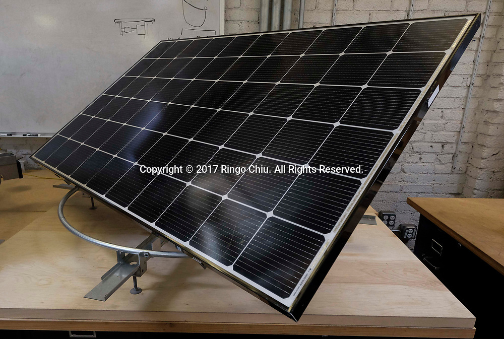 An example of Edisun solar panel trackers.(Photo by Ringo Chiu)<br /> <br /> Usage Notes: This content is intended for editorial use only. For other uses, additional clearances may be required.