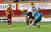 Connor Ripley makes a great save against David Goodwille during the Ladbrokes Scottish Premiership match between Motherwell and Aberdeen at Fir Park, Motherwell, Scotland on 15 August 2015. Photo by Craig McAllister.