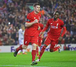 LIVERPOOL, ENGLAND - Thursday, November 26, 2015: Liverpool's James Milner celebrates scoring the first equalising goal against FC Girondins de Bordeaux from the penalty spot during the UEFA Europa League Group Stage Group B match at Anfield. (Pic by David Rawcliffe/Propaganda)