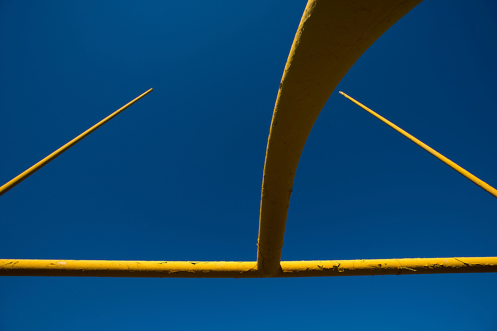The paint on the field goal posts at Grambling State Universities Eddie Robinson Stadium show signs of age in Grambling, Louisiana on October 23, 2013.  (Cooper Neill for The New York Times)
