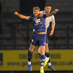 TELFORD COPYRIGHT MIKE SHERIDAN Zak Lilly of Telford and Jake Jackson of Gloucester during the National League North fixture between AFC Telford United and Gloucester City at the New Bucks Head Stadium on Tuesday, September 3, 2019<br /> <br /> Picture credit: Mike Sheridan<br /> <br /> MS201920-015