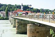 Bridge over inn river Passau, Lower Bavaria, Germany, City of three rivers