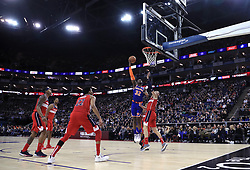 New York Knicks' Noah Vonleh stretches for the hoop during the NBA London Game 2019 at the O2 Arena, London.