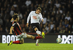 Derby County's Craig Bryson takes a shot at goal. - Photo mandatory by-line: Dougie Allward/JMP - Mobile: 07966 386802 - 30/09/2014 - SPORT - Football - Derby - Pride Park - Derby County v AFC Bournemouth - Sky Bet Championship