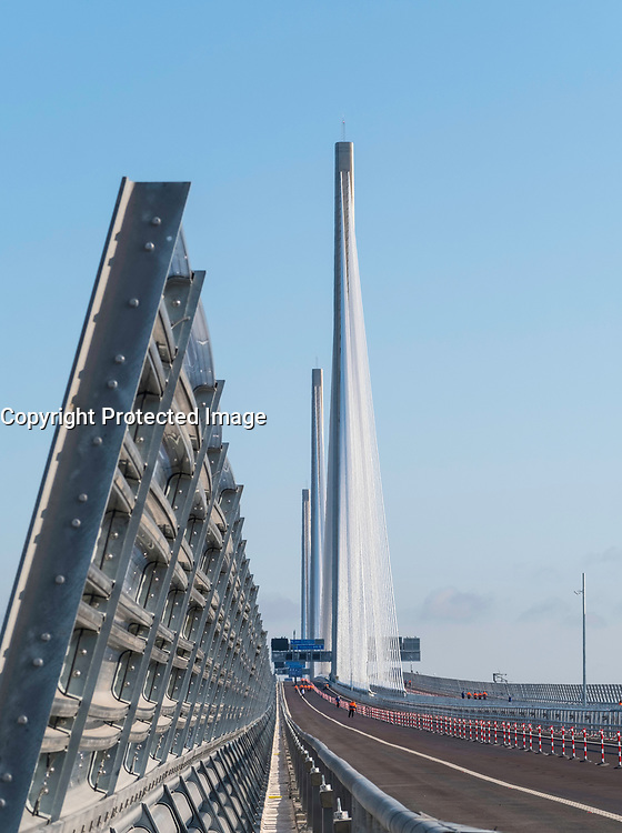 View of new Queensferry Crossing on day of official opening in Scotland, United Kingdom.