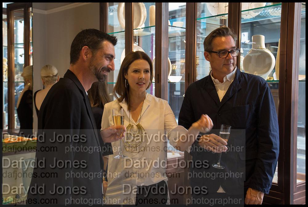 BRIAN PARKES; LOUISE OLSEN; STEVE ORMANDY Dinosaur Designs launch of their first European store in London. 35 Gt. Windmill St. 18 September 2014