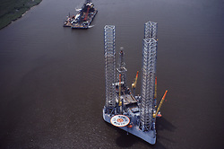 Stock photo of aerial view of Offshore jack-up drilling rig in Sumatra