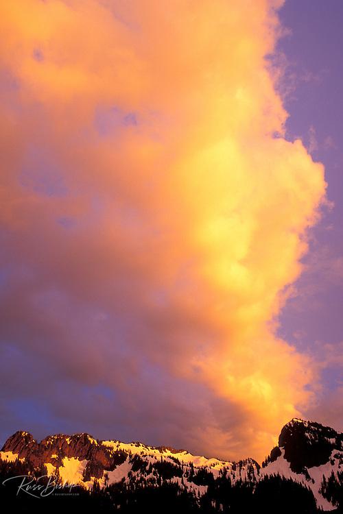Evening light on clouds over the Tatoosh Range, Mount Rainier National Park, Washington USA