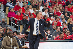 Pittsburgh head coach Jamie Dixon calls for the official after a call was made he disagreed with. <br /> <br /> The University of Louisville hosted the University of Pittsburgh, Wednesday, Feb. 11, 2015 at Yum Center in Louisville. <br /> <br /> Photo by Jonathan Palmer