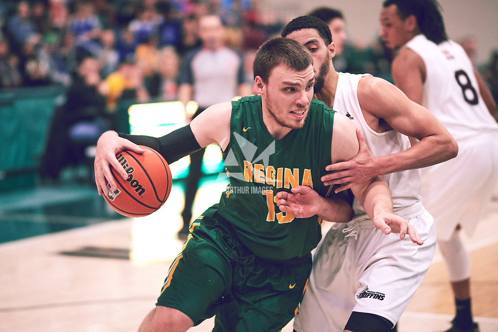 2nd year forward, Carter Millar (13) of the Regina Cougars during the Men's Basketball Home Game on Sat Dec 01 at Centre for Kinesiology,Health and Sport. Credit: Arthur Ward/Arthur Images