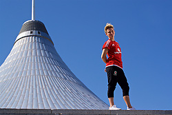 ASTANA, KAZAKHSTAN - Saturday, September 16, 2017: Wales' Jessica Fishlock poses for a portrait in front of Khan Shatyr Shopping Mall in Astana ahead of the FIFA Women's World Cup 2019 Qualifying Round Group 1 match against Kazakhstan. (Pic by David Rawcliffe/Propaganda)