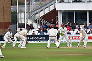 Tom Westley of Essex batting with 6 Somerset players fielding in close during the Specsavers County Champ Div 1 match between Somerset County Cricket Club and Essex County Cricket Club at the Cooper Associates County Ground, Taunton, United Kingdom on 26 September 2019.