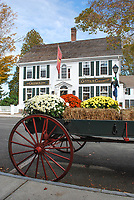 Essex Village, Connecticut, USA, main street, Griswold Inn, Goods & Curiosities, cart, flowers, straw bale, 201110185301.<br /> <br /> Copyright Image from Victor Patterson, 54 Dorchester Park, Belfast, UK, BT9 6RJ<br /> <br /> t1: +44 28 9066 1296 (from Rep of Ireland 048 9066 1296)<br /> t2: +44 28 9002 2446 (from Rep of Ireland 048 9002 2446)<br /> m: +44 7802 353836<br /> <br /> victorpatterson@me.com<br /> www.victorpatterson.com<br /> <br /> Please see my Terms and Conditions of Use at victorpatterson.com . It is IMPORTANT that you familiarise yourself with them.<br /> <br /> Images used on the Internet incur an additional cost and must be visibly watermarked i.e. ©Victor Patterson within the body of the image and copyright metadata must not be deleted. Images used on the Internet have a size restriction of 4kbs and are chargeable at rates available at victorpatterson.com.<br /> <br /> This image is only available for the use of the download recipient i.e. television station, newspaper, magazine, book publisher, etc, and must not be passed on to any third party. It is also downloaded on condition that each and every usage is notified within 7 days to victorpatterson@me.com<br /> <br /> The right of Victor Patterson to be identified as the author is asserted in accordance with The Copyright Designs And Patents Act (1988). All moral rights are asserted.