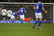 Ipswich striker Freddie Sears scoring Ipswich first goal during the Sky Bet Championship match between Fulham and Ipswich Town at Craven Cottage, London, England on 15 December 2015. Photo by Matthew Redman.