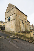 Exterior walls of Saxon building church of Saint Laurence, Bradford on Avon, Wiltshire, England, UK probably built circa 1000 AD