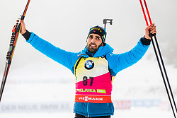 Martin Fourcade (FRA) during Flower ceremony after the Men 20km Individual at day 5 of IBU Biathlon World Cup 2018/19 Pokljuka, on December 6, 2018 in Rudno polje, Pokljuka, Pokljuka, Slovenia. Photo by Ziga Zupan / Sportida