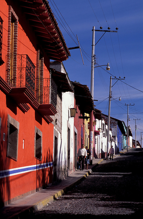 Colorful row of houses in Town of Malinalco, Estado de Mexico, Mexico