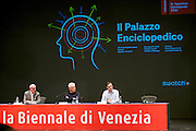 55th Art Biennale in Venice - The Encyclopedic Palace (Il Palazzo Enciclopedico).<br /> Opening Press Conference.<br /> Biennale President Paolo Baratta (m.), Biennale 55 Curator Massimiliano Gioni (r.)