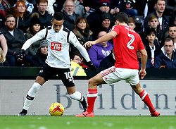 Thomas Ince of Derby County takes on Eric Lichaj of Nottingham Forest - Mandatory by-line: Robbie Stephenson/JMP - 11/12/2016 - FOOTBALL - iPro Stadium - Derby, England - Derby County v Nottingham Forest - Sky Bet Championship