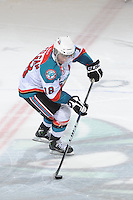 KELOWNA, CANADA - FEBRUARY 18: Shane McColgan #18 of the Kelowna Rockets skates with the puck against the Red Deer Rebels at the Kelowna Rockets on February 18, 2012 at Prospera Place in Kelowna, British Columbia, Canada (Photo by Marissa Baecker/Shoot the Breeze) *** Local Caption ***