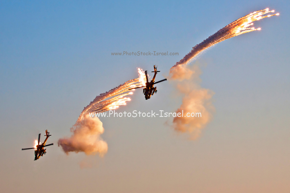 Israeli Air force Bell AH-1F Cobra helicopterEmitting anti-missile flares