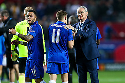Leicester City manager Claudio Ranieri thanks Marc Albrighton after a 2-1 loss - Rogan Thomson/JMP - 22/02/2017 - FOOTBALL - Estadio Ramon Sanchez Pizjuan - Seville, Spain - Sevilla FC v Leicester City - UEFA Champions League Round of 16, 1st Leg.