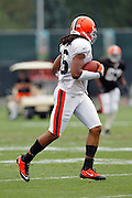 Cleveland Browns wide receiver Joshua Cribbs (16) runs with the ball during NFL football training camp at the Cleveland Browns Training Complex on Monday, August 9, 2010 in Berea, Ohio. (©Paul Anthony Spinelli)