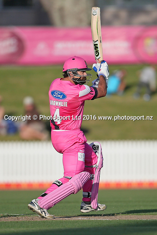 Knights captain Dean Brownlie batting during the McDonalds Super Smash T20 cricket match - Knights v Stags played at Seddon Park, Hamilton, New Zealand on Friday 23 December.<br /> <br /> Copyright photo: Bruce Lim / www.photosport.nz