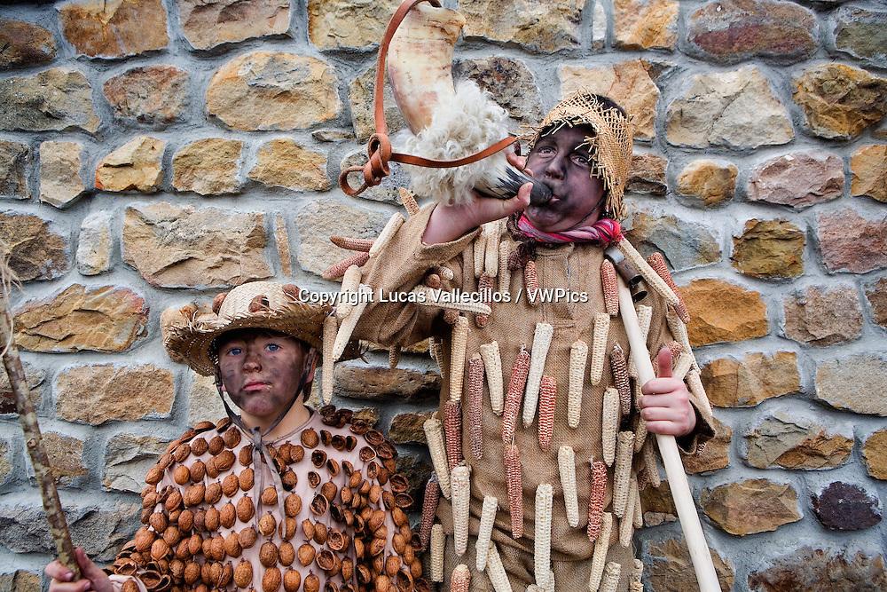 `La Vijanera´carnival,black dancers , Silio, Molledo. Cantabria, Spain.