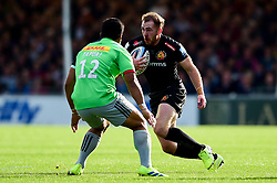 Max Bodilly of Exeter Chiefs is marked by Ben Tapuai of Harlequins - Mandatory by-line: Ryan Hiscott/JMP - 19/10/2019 - RUGBY - Sandy Park - Exeter, England - Exeter Chiefs v Harlequins - Gallagher Premiership Rugby