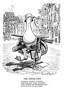 """The Goose-Step. """"Goosey Goosey Gander, wither dost thou wander?"""" """"Only through the Rhineland—pray excuse my blunder!"""""""