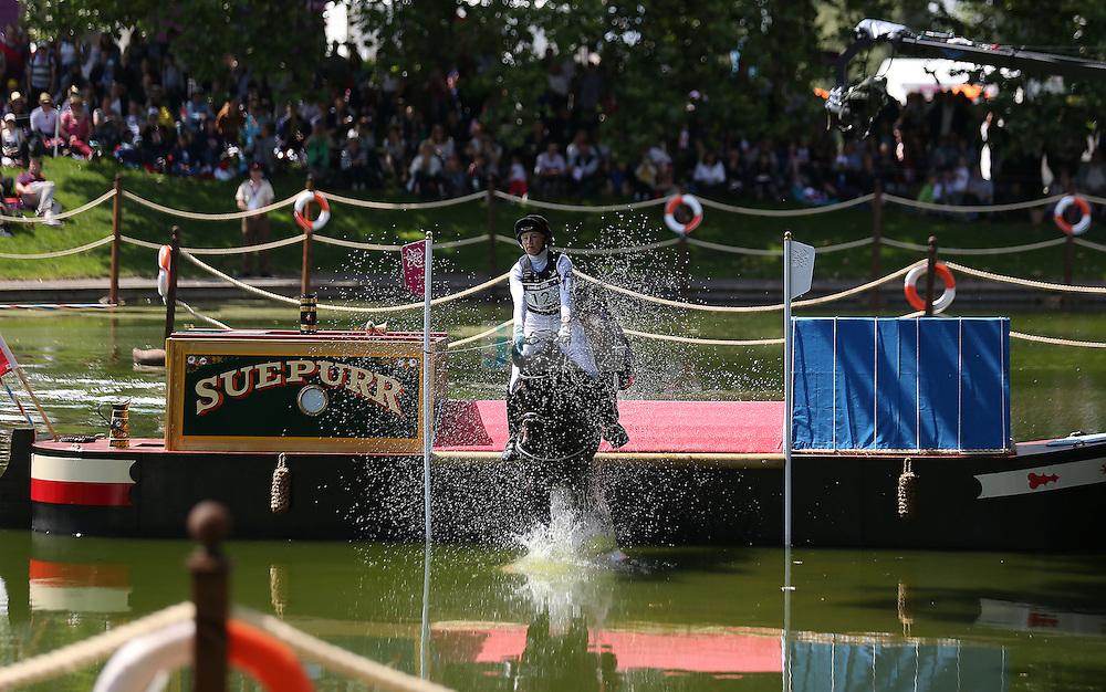 Alena Tseliapushkina of Belarus jumps during the team eventing equestrian event during day 3 of the London Olympic Games London, 30 Jul 2012..(Jed Jacobsohn/for The New York Times)....