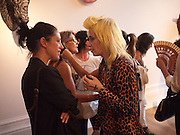 PAM HOGG, Private view and Summer party to celebrate Haunch of Venison's exhibition. Joanna Vasconcelos; I will Survive and Polly Morgan: Psychopomps. Dover st. arts Club. 20 July 2010. -DO NOT ARCHIVE-© Copyright Photograph by Dafydd Jones. 248 Clapham Rd. London SW9 0PZ. Tel 0207 820 0771. www.dafjones.com.