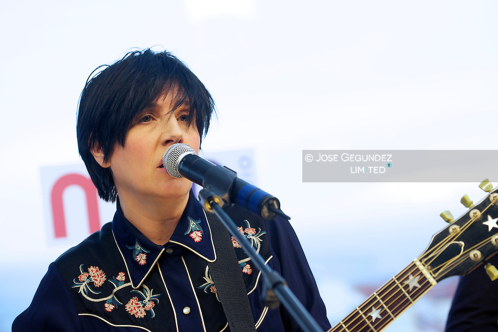 Sharleen Spiteri of Texas performs an accoustic set live for M80 Radio Station at Mercure Hotel on April 29, 2013 in Madrid