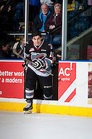 KELOWNA, CANADA - DECEMBER 2: Nick Merkley #10 of Kelowna Rockets enters the ice to accept the second star of the game against the Kelowna Rockets on December 2, 2015 at Prospera Place in Kelowna, British Columbia, Canada.  (Photo by Marissa Baecker/Shoot the Breeze)  *** Local Caption *** Nick Merkley;