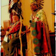 Chief Joy and Happeniess Running Water speaking at the Native American Sunday  Worship Service. She is wearing Native American regalia and sharing her culture at the Sayville Congregrational UCC Church in Sayville, New York on November 23,2008.