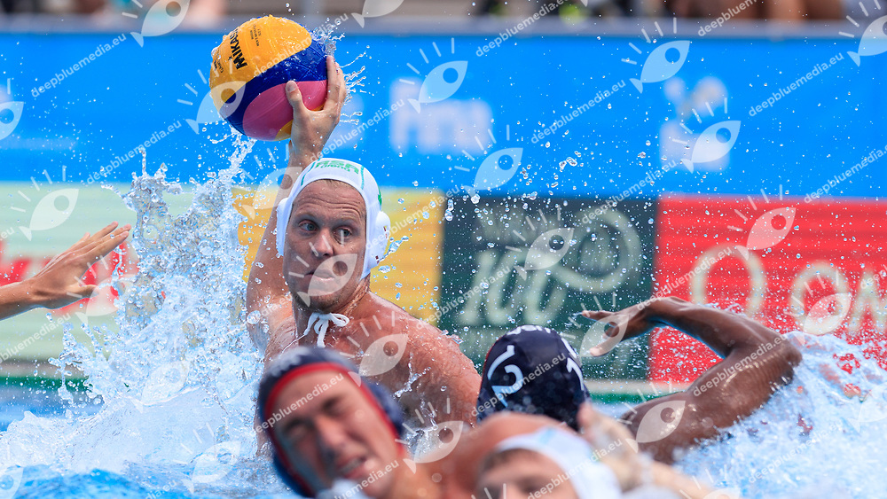 Nicholas Rodda of South Africa<br /> South Africa (white cap) -  United States of America (blue cap)<br /> Preliminary Round Water Polo Women<br /> Day10  23/07/2017 <br /> XVII FINA World Championships Aquatics<br /> Alfred Hajos Complex Margaret Island  <br /> Budapest Hungary <br /> Photo @Deepbluemedia/Insidefoto Photo @Marcelterbals/Deepbluemedia/Insidefoto