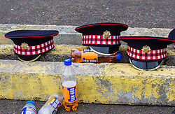 The 1,200 performers that will take part in the 2016 Royal Edinburgh Military Tattoo come together for the first time to rehearse.<br /> <br /> Pictured: Royal Scots Dragoon Guards caps with Irn Bru bottles