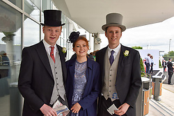 Left to right, Lord Stanley, Esther Gillespie and Freddie Boscowan<br />  at The Investec Derby, Epsom Racecourse, Epsom, Surrey, England. 02 June 2018.