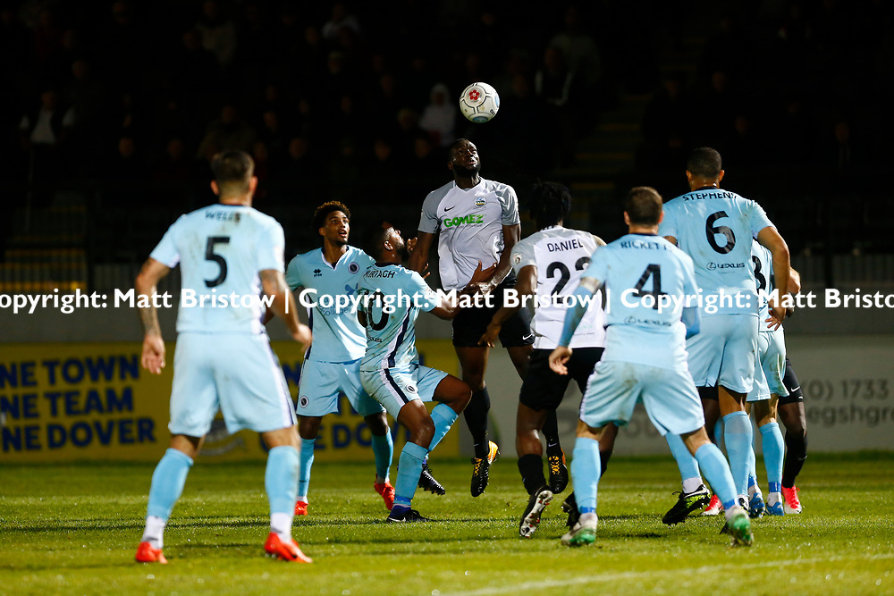 SEPTEMBER 12:  Top of the table Dover Athletic FChost eighth place Boreham Wood FC in Conference Premier at Crabble Stadium in Dover, England. The visitors, Boreham Wood  ran out winners a goal to nothing. Dover's forward Tobi Sho-Silva rises to the ball. (Photo by Matt Bristow/mattbristow.net)