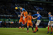 Portsmouth Defender, Matt Clarke (5) with a header on goal during the EFL Sky Bet League 1 match between Portsmouth and Southend United at Fratton Park, Portsmouth, England on 8 December 2018.