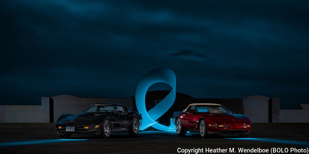 BOLO Photo<br /> Wild West Automotive Photography<br /> True Colors: In celebration of those who have survived prostate cancer, in memory of those who didn't make it, and in honor of those who continue to fight.<br /> April 6, 2019: Cheyenne, Wyoming<br /> (1995 Chevrolet Corvette: Terry and Max Butler)<br /> (1981 Chevrolet Corvette: Rob Johnson)