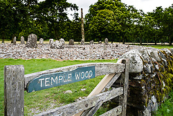 View of ancient standing stone circle at Temple Wood in Kilmartin in Argyll and Bute , Scotland,United Kingdom